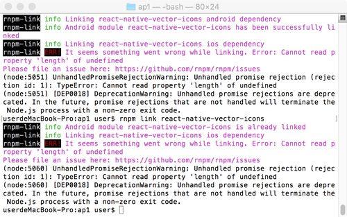 rnpm link react-native-vector-icons出错_实战问答